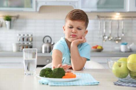 Un petit garçon qui refuse de manger son assiette.
