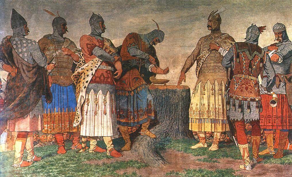 Une illustration représentant des chevaliers.