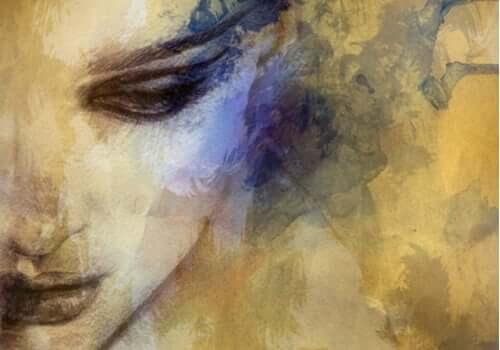 Un dessin d'une femme le regard baissé.