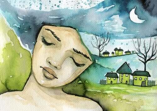 Une illustration d'une fille les yeux fermés.