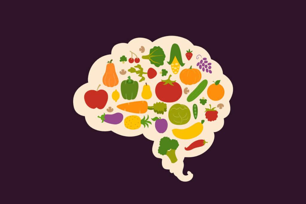 Illustration d'un cerveau contenant des aliments.