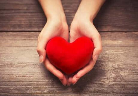 Deux mains qui offrent un coeur.