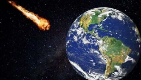 Une météorite sur le point de toucher la Terre.