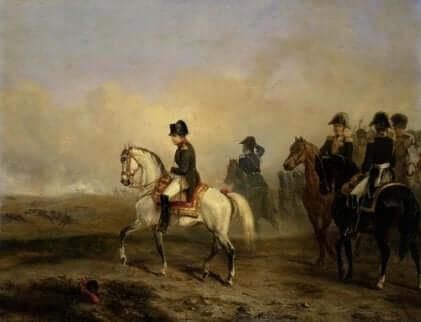 Peinture mettant en scène Napoléon.