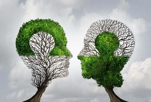 Illustration d'arbres en forme de tête.