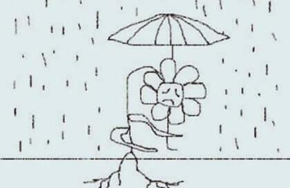 Test d'une personne sous la pluie.
