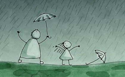 Interprétation du dessin sous la pluie.