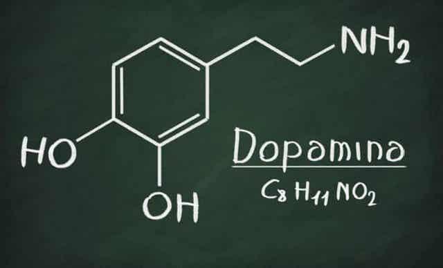 Formule chimique de la dopamine.