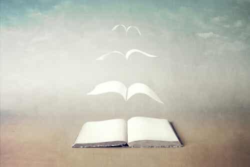 Livre avec des pages qui volent.