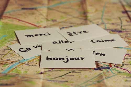 Mots inscrits sur des bouts de papier.